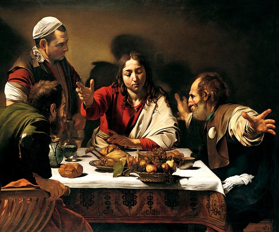 Caravaggio - Večera v Emauzách